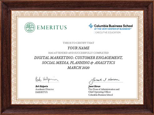 Digital Marketing: Customer Engagement, Social Media, Planning & Analytics Course Certificate