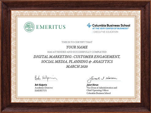 Digital Marketing: Customer Engagement, Social Media, Planning & Analytics Course Certificate